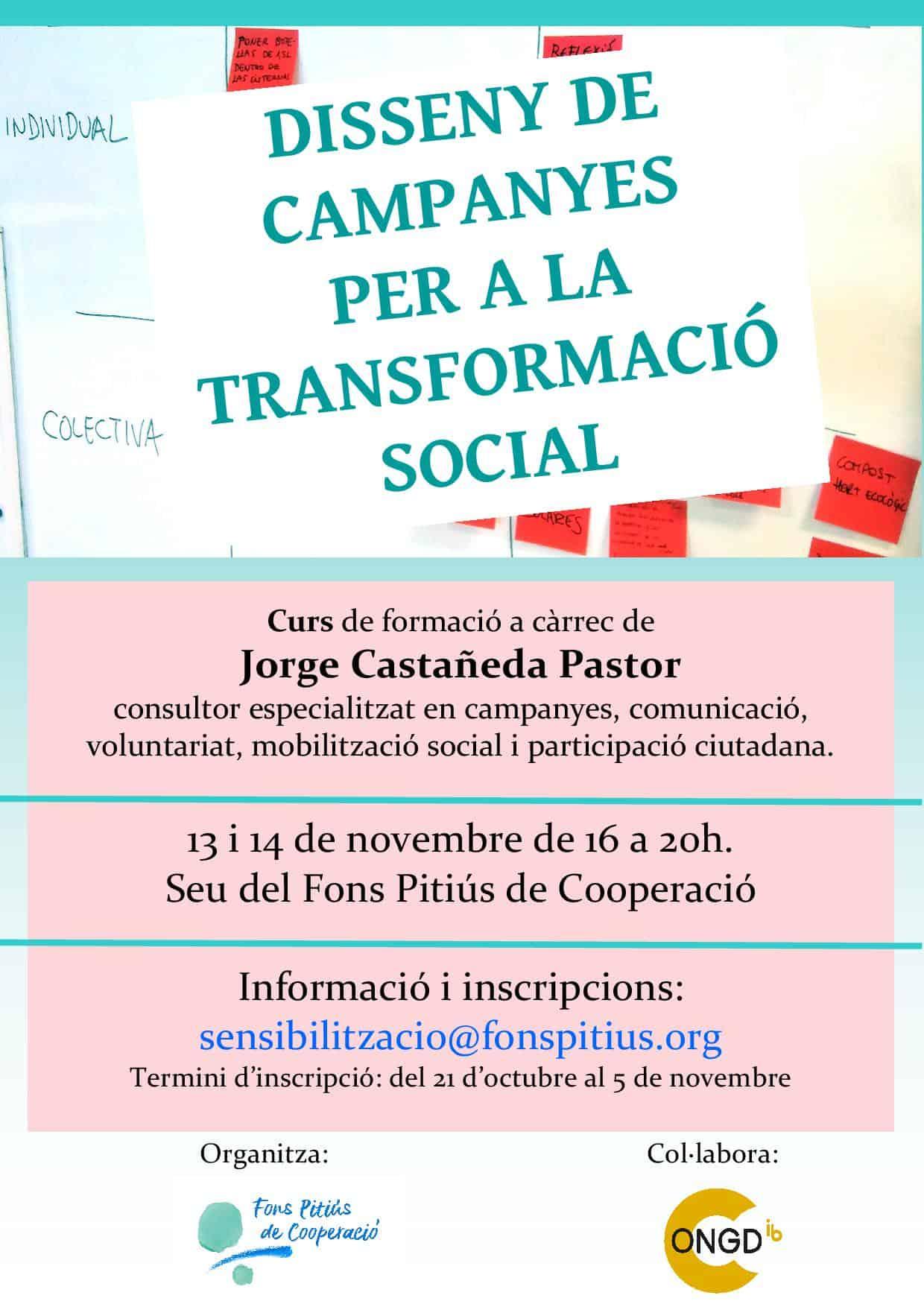 CURS DE FORMACIÓ: Disseny de campanyes per a la transformació social