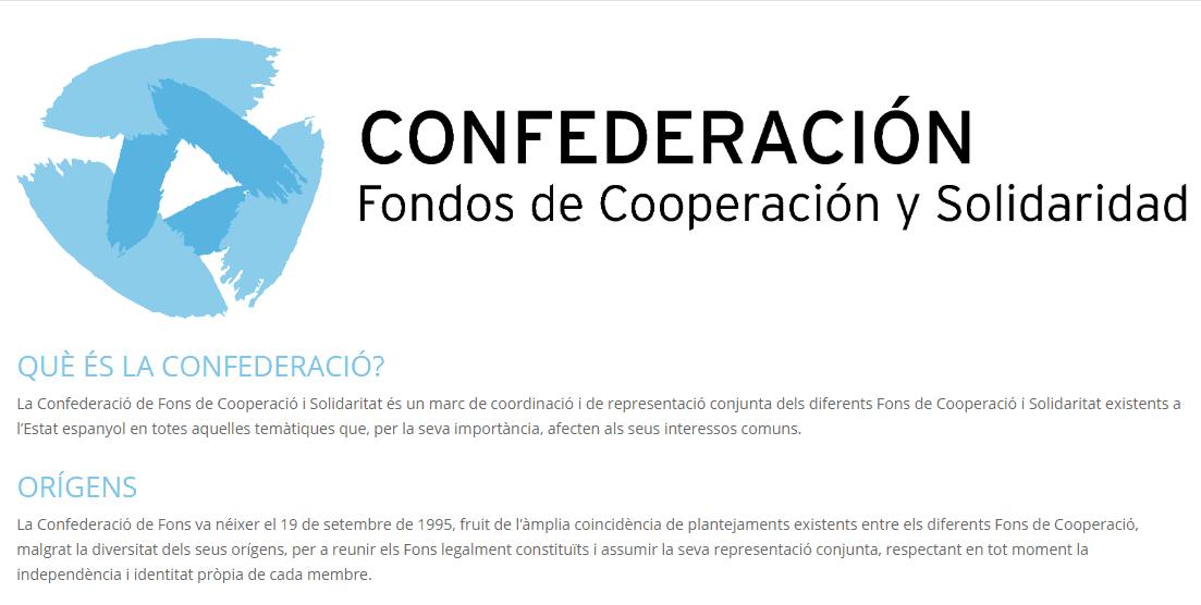 La Confederació de Fons de Cooperació i Solidaritat estrena pàgina web